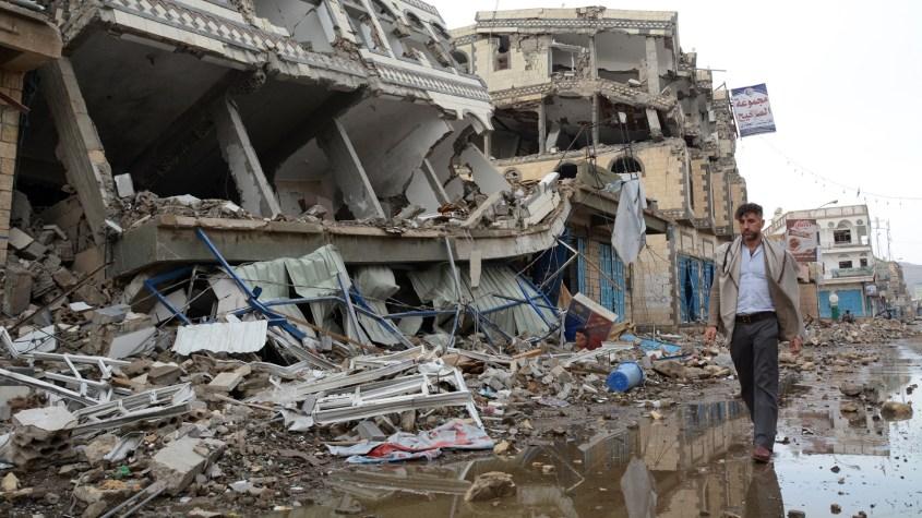 Yemen rubble Saada 2015