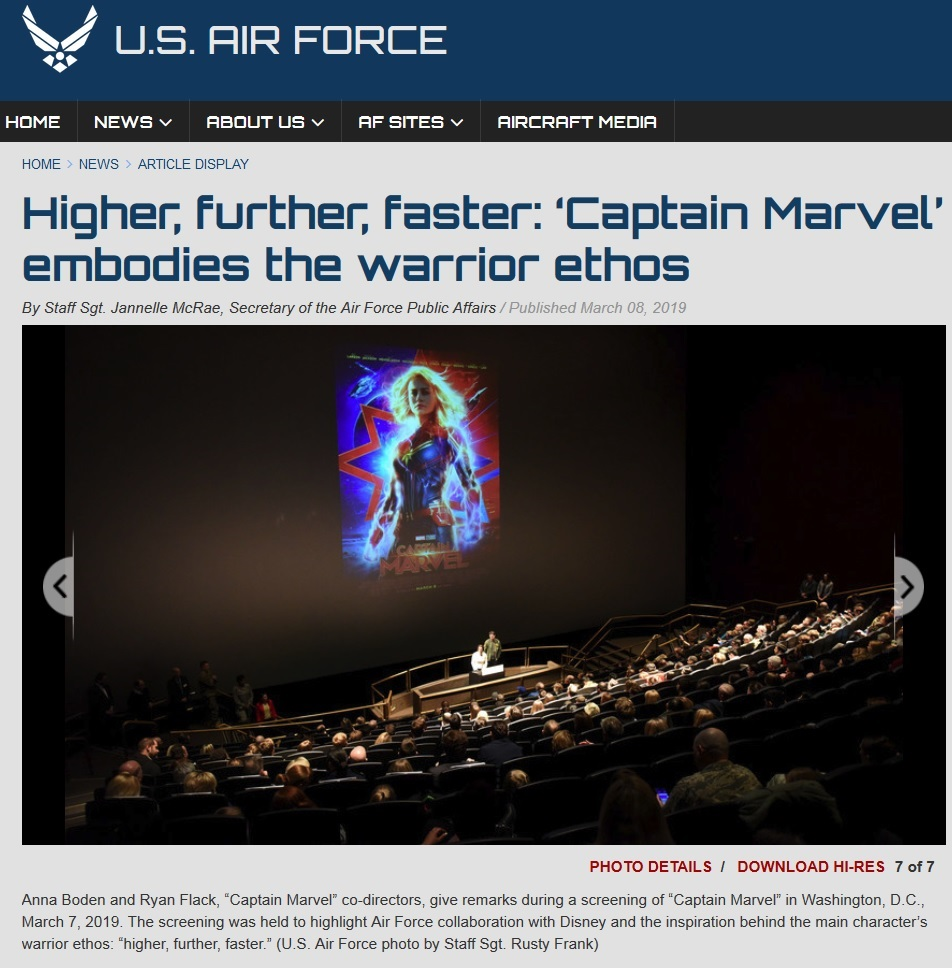 air force captain marvel screening