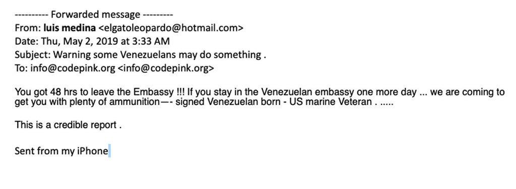 Venezuelan opposition death threat CODEPINK