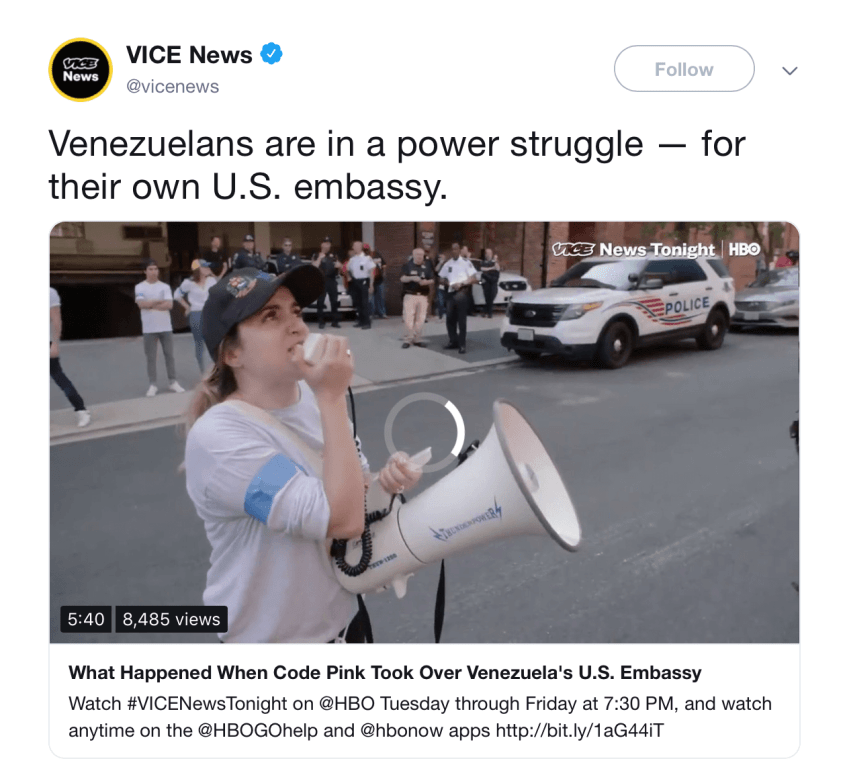 Vice Venezuelans embassy tweet