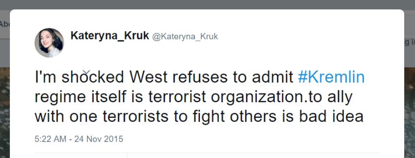 Kateryna Kruk Twitter Kremlin regime terrorist