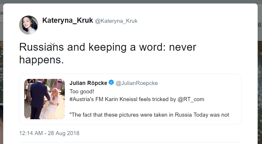 Kateryna Kruk Twitter Russians keeping word never