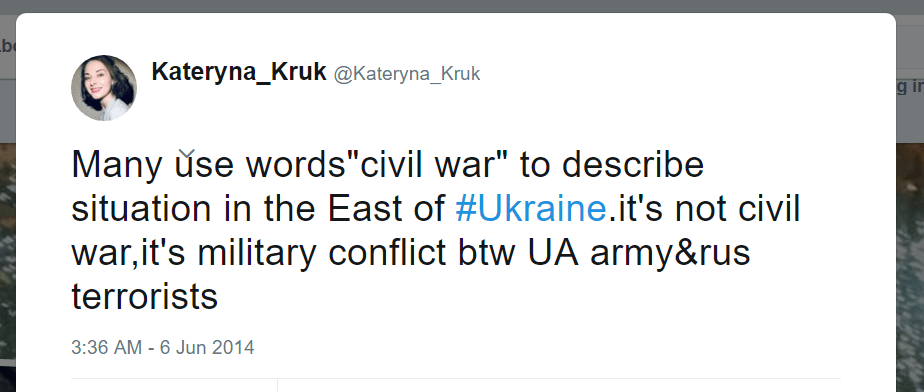Kateryna Kruk Twitter civil war