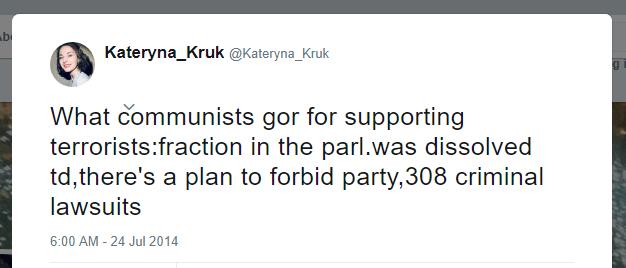 Kateryna Kruk Twitter communists terrorists