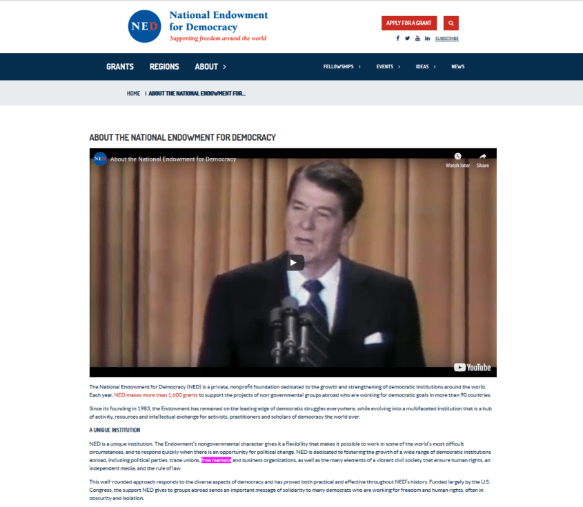 NED Ronald Reagan free markets