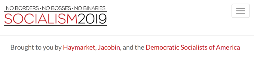 DSA/Jacobin/Haymarket-sponsored 'Socialism' conference