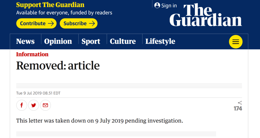 The Guardian removed article Chris Williamson letter