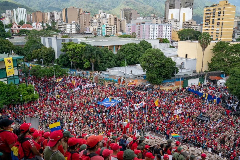 Venezuela no more Trump protest crowd stairs of El Calvario