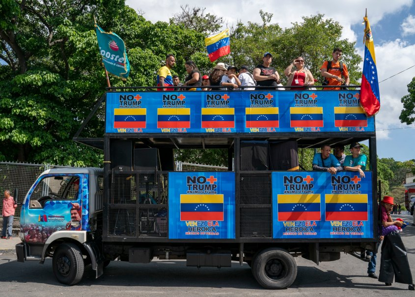 Venezuela no more Trump protest truck