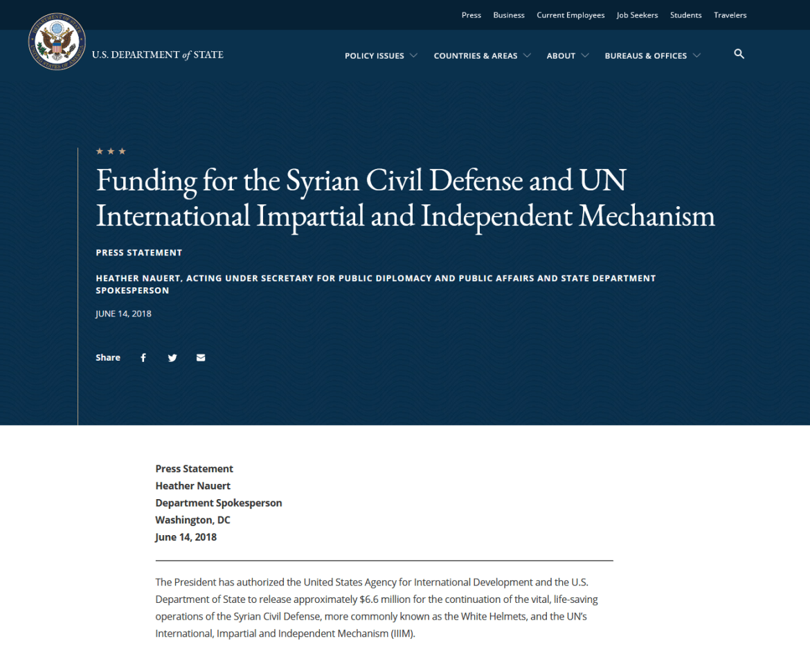 White Helmets funding US State Department USAID 2018