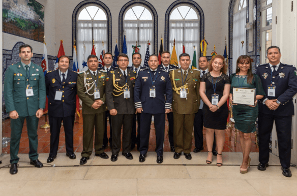 Then-Col. Vladimir Yuri Calderón Mariscal (third on the left) with other APALA officials in 2018.