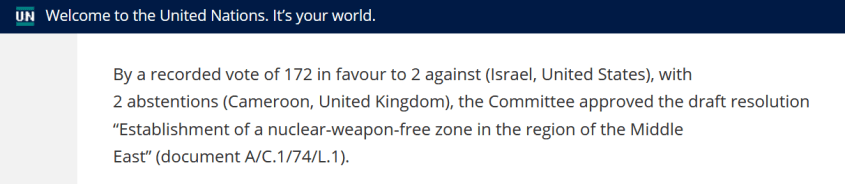 UN nuclear weapons free zone Middle East vote 2019