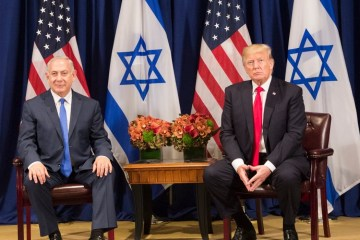 US Israel Trump Netanyahu flags