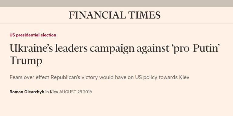 Financial Times Ukraine meddling US election