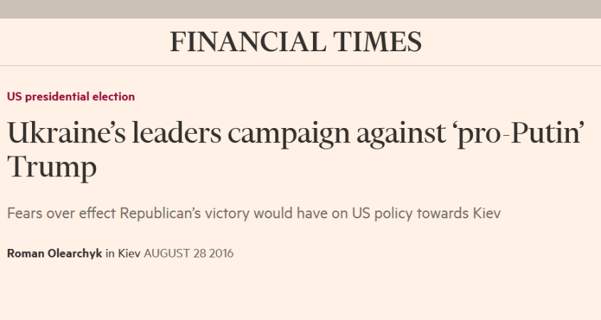 Financial Times Ukraine meddling US election