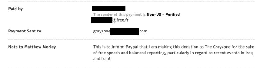 PayPal Grayzone donation Iran free speech