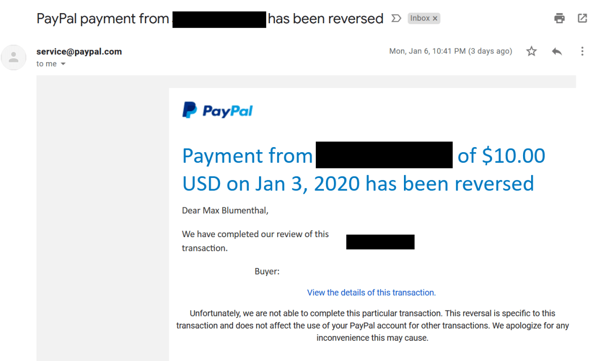PayPal donation reversed Iran sanctions
