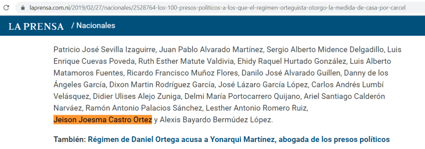 La Prensa presos politicos Nicaragua Jeison Castro Ortez