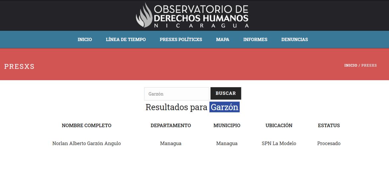 Nicaragua human rights political prisoner Norlan Alberto Garzon Angulo murder