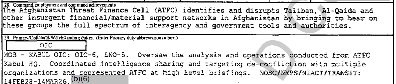 Pete Buttigieg Afghanistan Threat Finance Cell ATFC