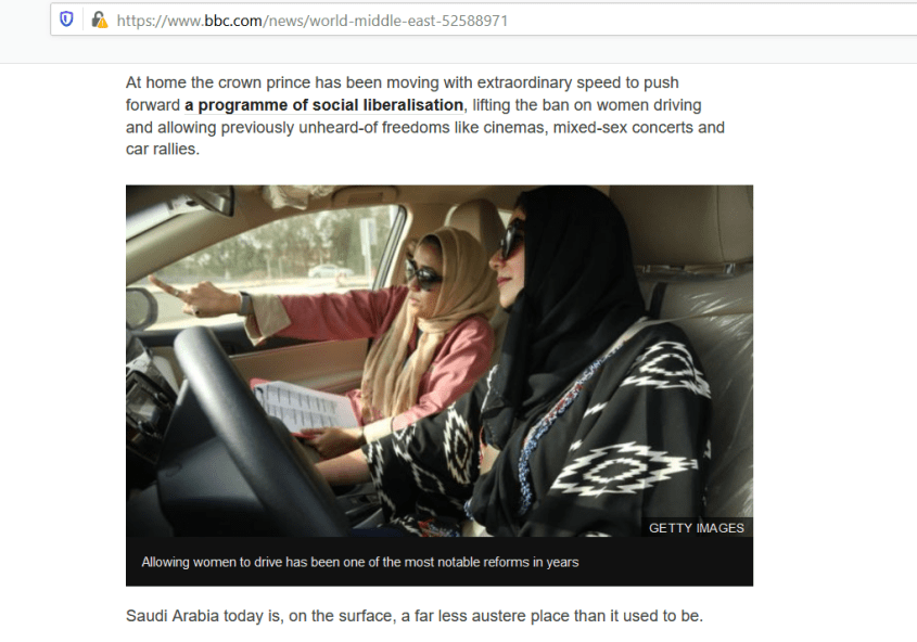 BBC Saudi Arabia MBS women driving