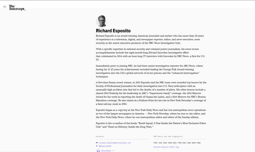 The Intercept Richard Esposito bio NYPD