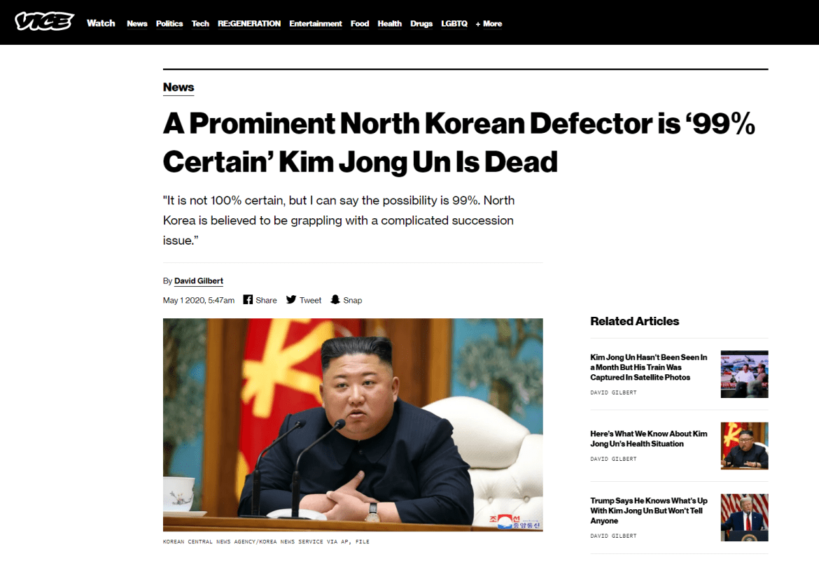 vice north korean defector kim jong un dead