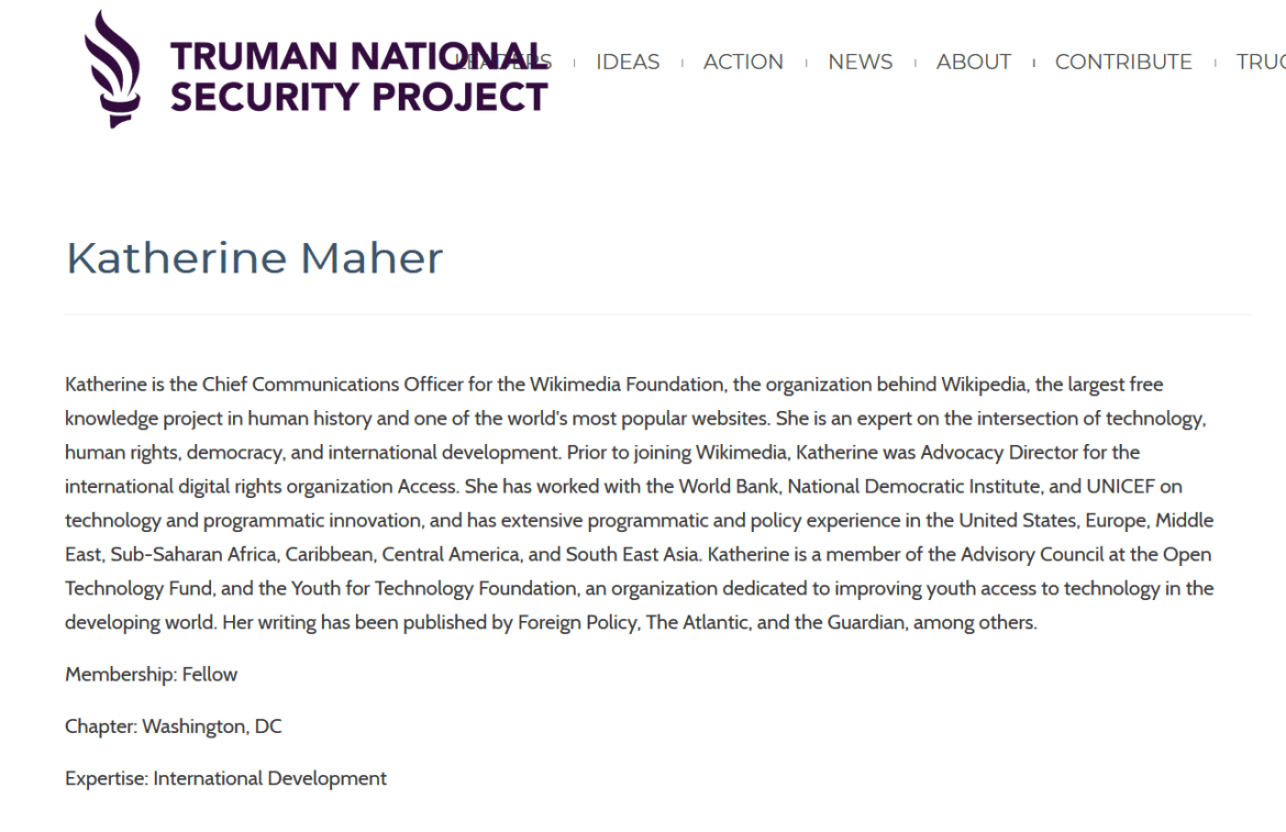 Katherine Maher Truman National Security Project