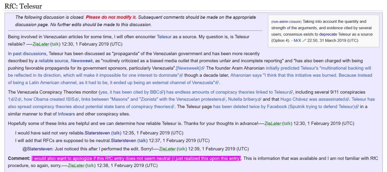 Wikipedia TeleSUR ZiaLater