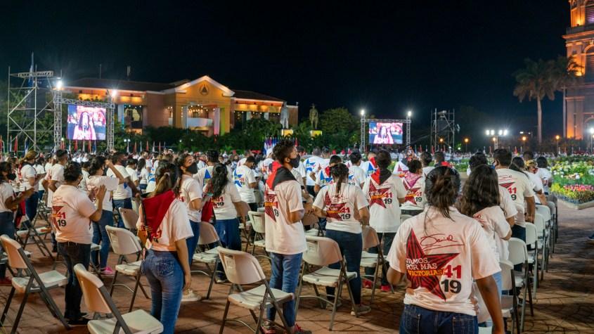 Nicaragua Sandinista Youth 41 anniversary masks chairs