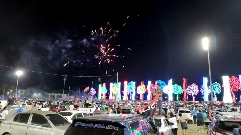 Sandinistas July 19 fireworks plaza