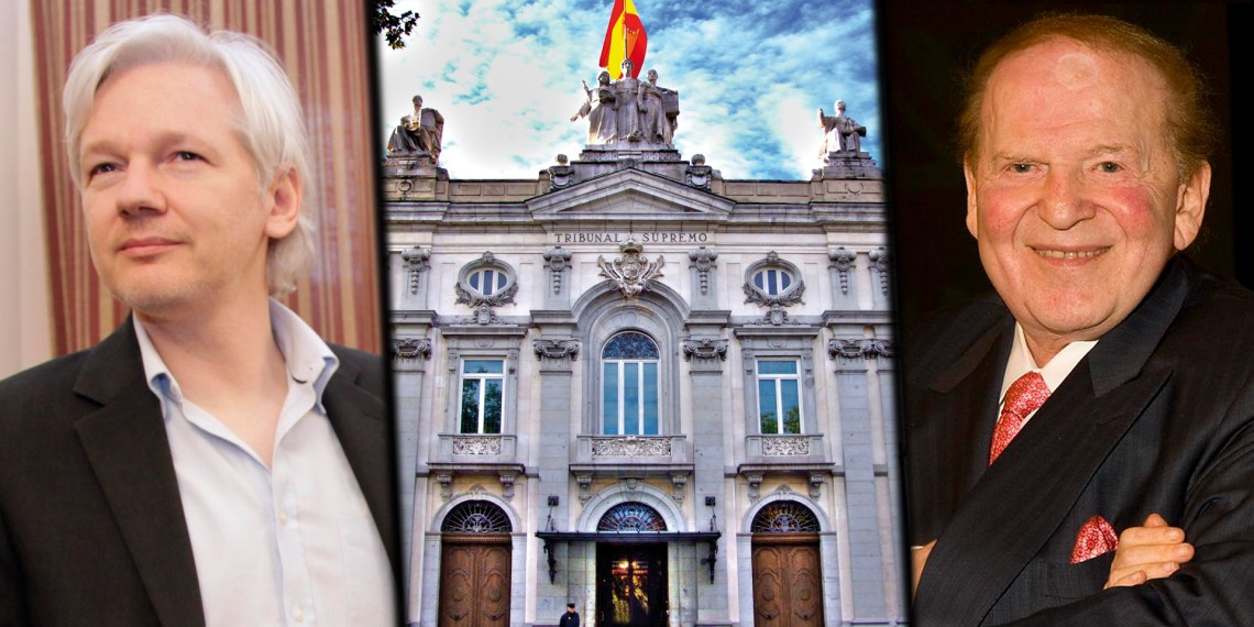 Spanish court Julian Assange Sheldon Adelson spying