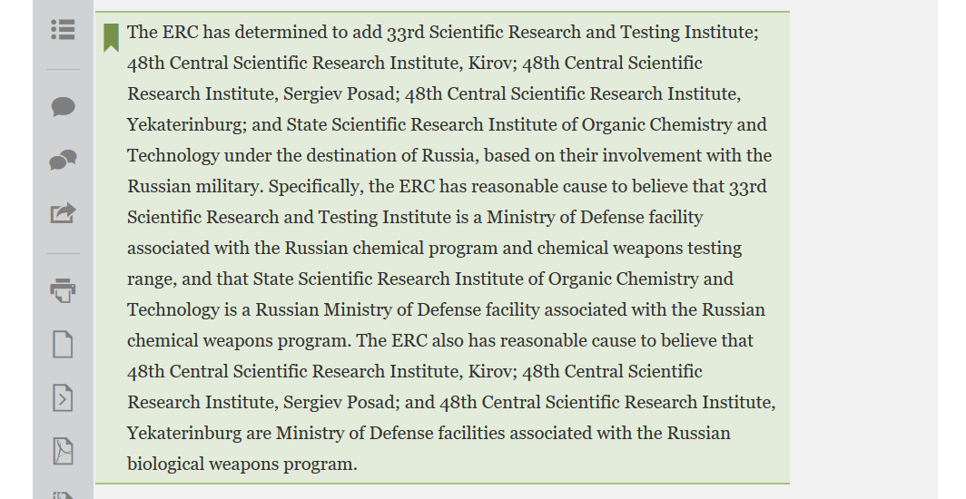 US federal register sanctions Russia research institute covid vaccine