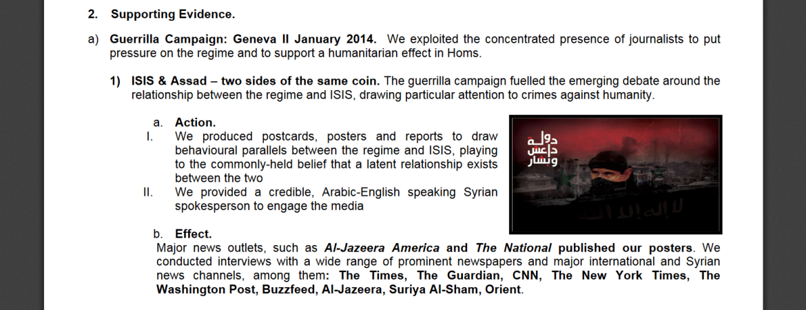 InCoStrat Syrian opposition media Assad ISIS