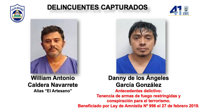 Nicaragua political prisoner explosives guns drugs Danny de los Ángeles García González