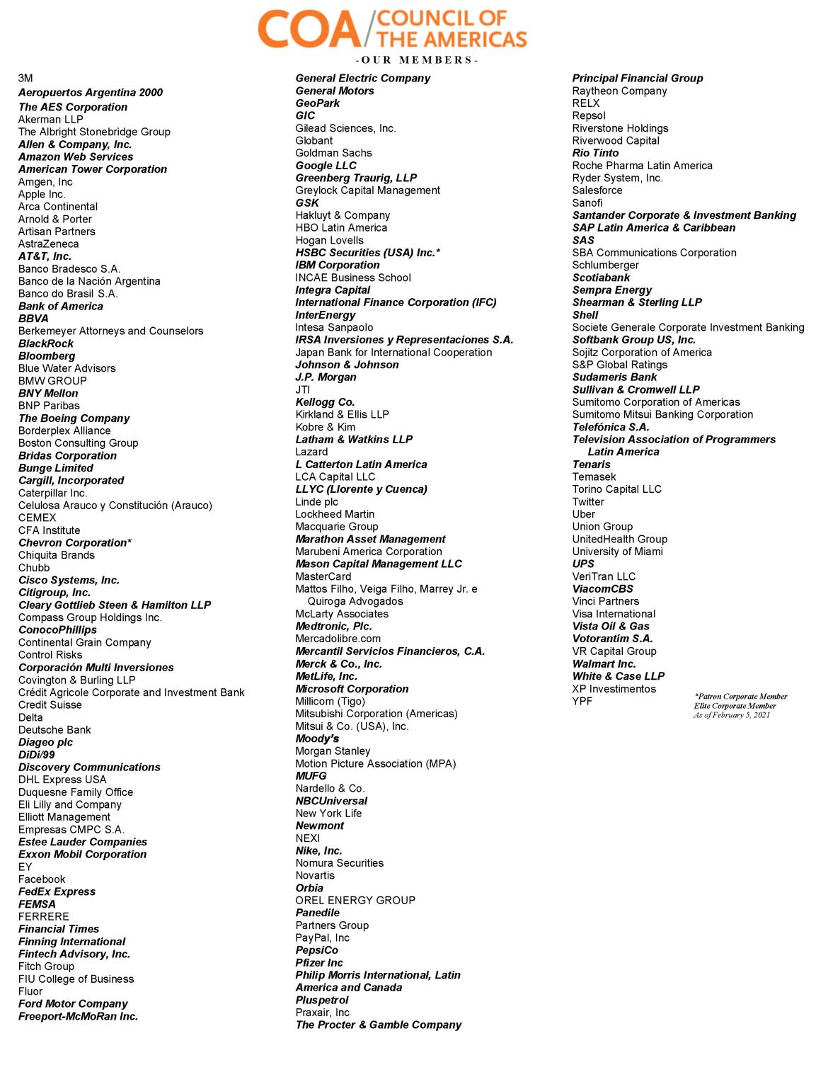 Council of the Americas ASCOA-Mitgliedsunternehmen