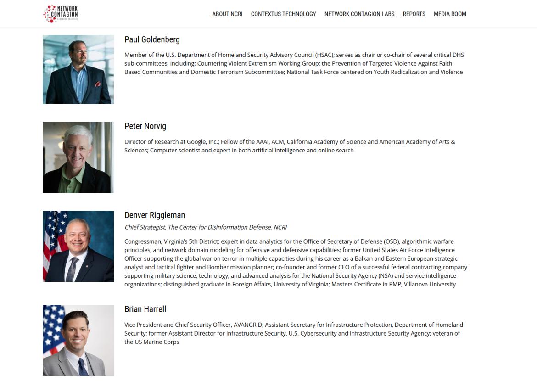 Network Contagion Research Institute advisors