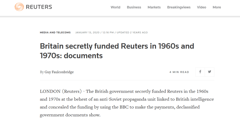 Reuters British government funding propaganda