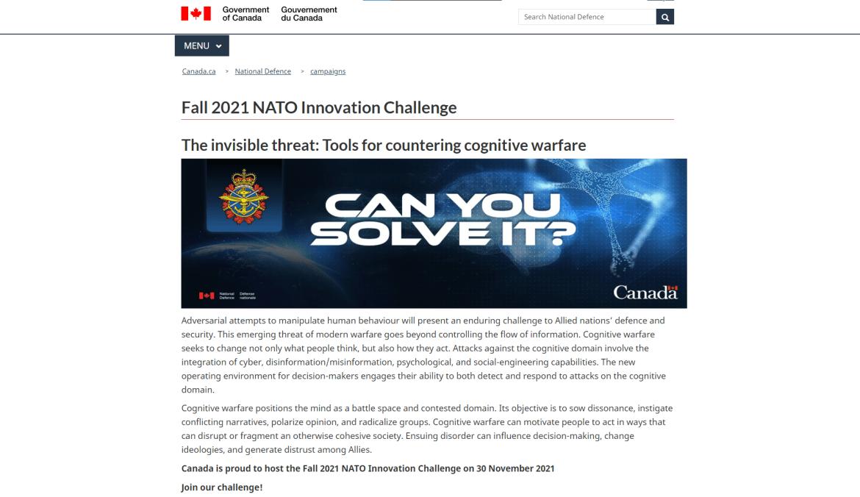 Canada NATO innovation challenge cognitive warfare