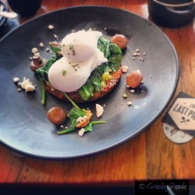 Quinoa Fritter with Poached Eggs, Avocado, Mushrooms, Candied Walnuts and Yarra Valley Feta