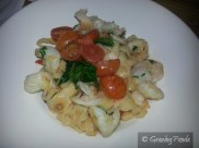 Tagliatelle Prawn - Fresh local made Tagliatelle Prawns, Spicy Tomatoes, Chilli, Garlic and Fresh Herbs