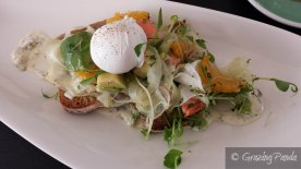 Poached Ocean Trout, Pickled Avocado, Citrus Salad, Caper & Dill Creme Fraice, Rye Toast with a Poached Egg