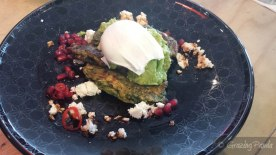 Corn and Zucchini Fritters, Avocado, Fetta and a Poached Egg