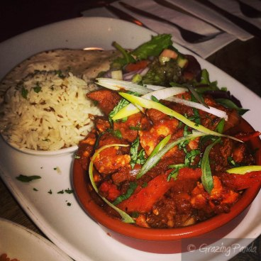 Fiesta Autentica - the house speciality, a combination of beef, chicken, potatoes, tomatoes, serrano chilli & fresh cilantro, delicious with flour tortillas, arroz verde & leaf salad