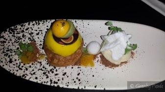 Mango Alfonso – Choux Pastry, Shiso, Coconut, Kalamanzi, Lemongrass, Ginger & Caramelised White Chocolate