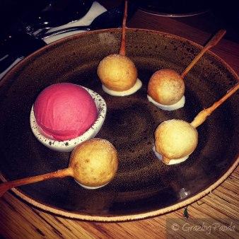 Milk chocolate dumplings with raspberry-chilli sorbet_