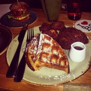 Fried Chicken & Waffles - Spiced Maple Syrup
