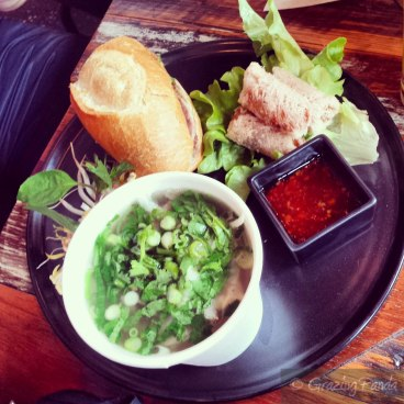 Banoi Lunch Special - Beef Pho Cup, Banh Mi Hlaf and Imperial Spring Rolls
