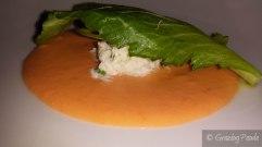 Close up of Crab, Salmorejo, Chilli, Black Pepper