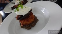 Potato Hash + Mushrom Duxelles with roasted field mushroom, poached egg + caramelised onion